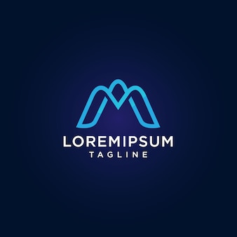 Letra m. design simples e minimalista logo na cor azul