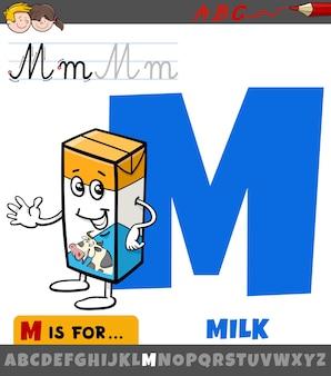 Letra m do alfabeto com caixa de leite de desenho animado