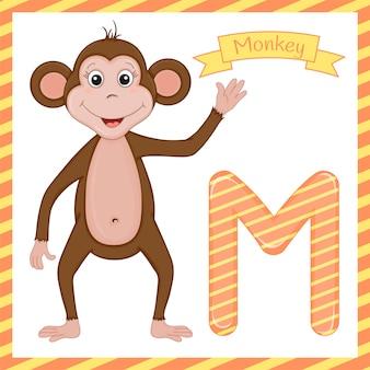 Letra m é para alfabeto de desenho animado de macaco