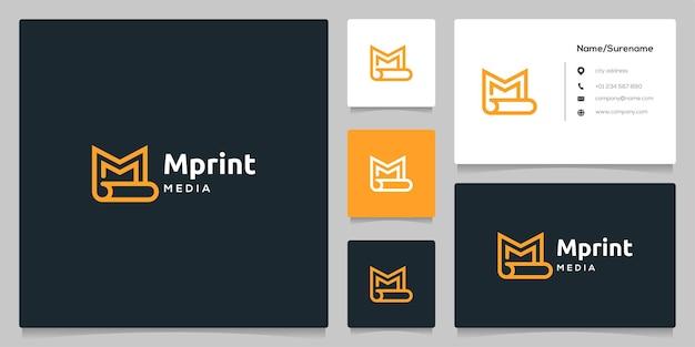 Letra m em papel enrolado imprimir ícone de contorno de linha design de logotipo