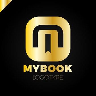 Letra m logo com marcador e ícone de símbolo do livro design elementos do modelo