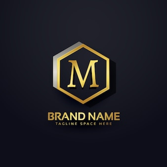 Letra m logo design premium