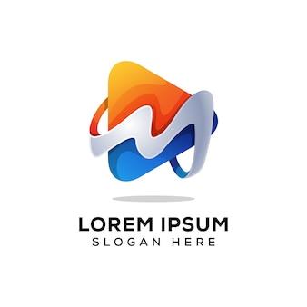 Letra m mídia logo vector