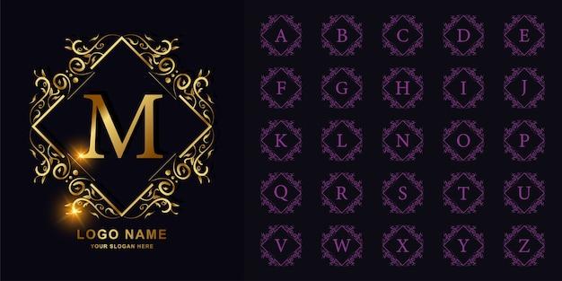 Letra m ou alfabeto inicial de coleção com modelo de logotipo dourado moldura floral ornamento de luxo.