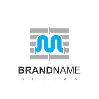 Letra m pipe logo design template para encanamento company symbol