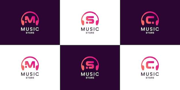 Letra m, s, c design de logotipo de conceito de música. combinar fone de ouvido com letra inicial