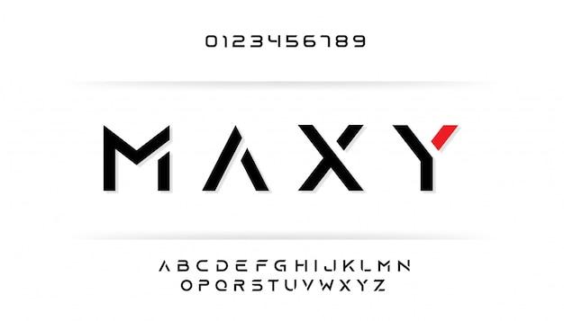 Letra maiúscula cortada definir fonte alfabeto