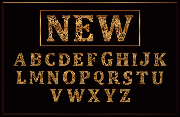 Letra maiúscula de ouro de luxo um vetor de alfabeto