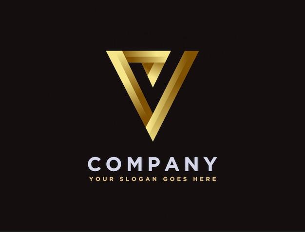 Letra minimalista moderna v e logotipo de marca de seleção