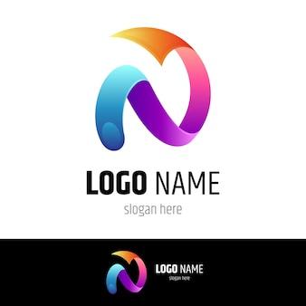 Letra n com logotipo de seta