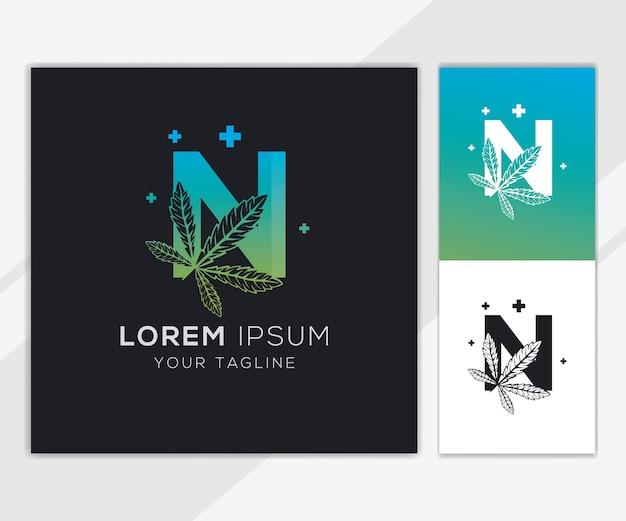 Letra n com modelo de logotipo abstrato de cannabis