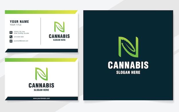 Letra n com modelo de logotipo de cannabis em estilo moderno