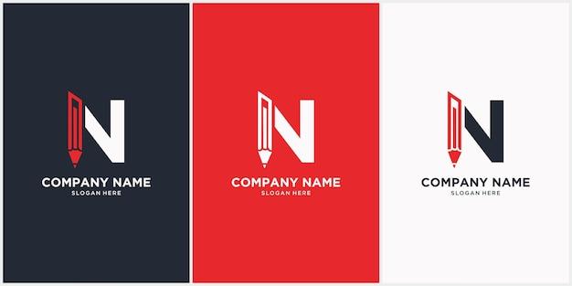 Letra n com um ícone de logotipo de lápis com fundo branco