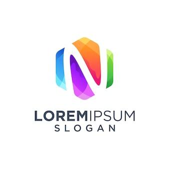 Letra n logo design ilustração vetorial