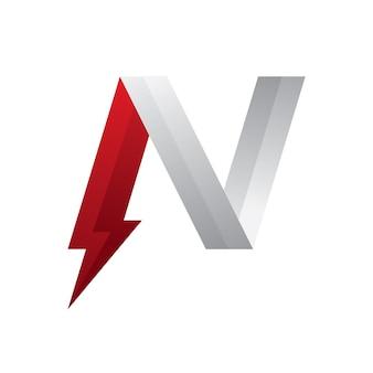 Letra n logo power vermelho e prata