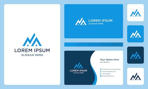 Letra n, logotipo da montanha e investimento. cartão de visitas.