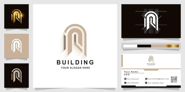Letra n ou construção de modelo de logotipo de monograma com design de cartão de visita