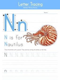 Letra n rastreamento animal alfabeto n para nautilus