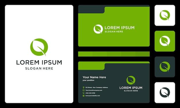 Letra o com folhas. modelo de design de cartão de visita