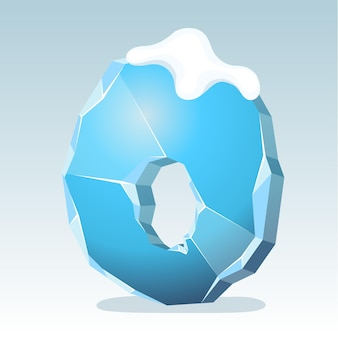 Letra o de gelo com neve no topo, fonte de vetor