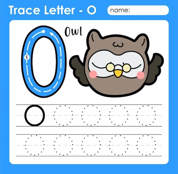Letra o maiúscula - letras do alfabeto, planilha de rastreamento com coruja