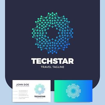 Letra ou elemento de design de logotipo de rede de círculo conectado ou logótipo de estrela de linha conectada