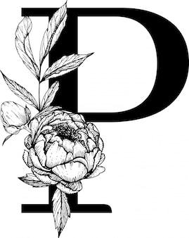 Letra p, alfabeto floral