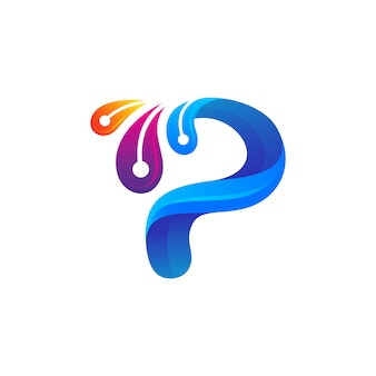 Letra p com design de logotipo de penas de pavão