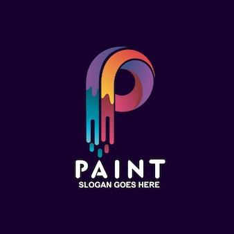 Letra p com design de logotipo em tinta colorida