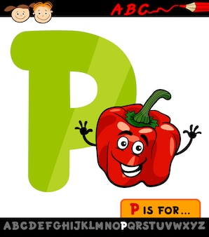 Letra p com ilustração de desenhos animados de pimenta