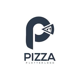 Letra p com silhueta retro vintage de pizza