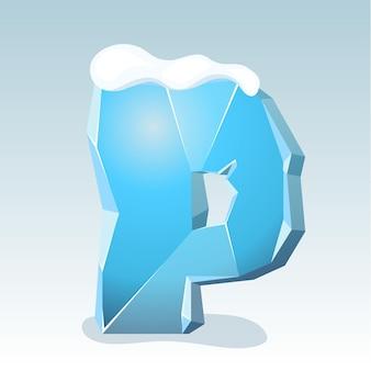 Letra p de gelo com neve no topo, fonte de vetor