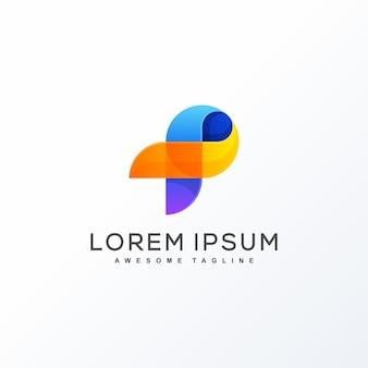 Letra p design conceito ilustração vector template