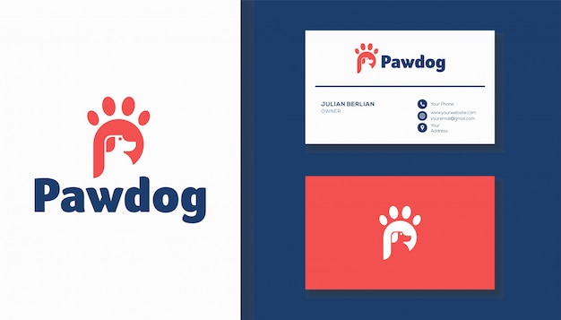 Letra p e pata cachorro combinação de logotipo. design de logotipo criativo.