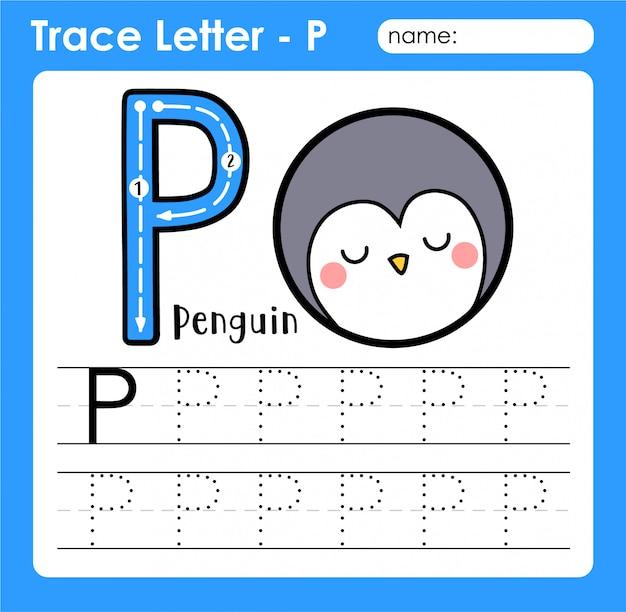Letra p maiúscula - planilha de rastreamento de letras do alfabeto com pinguim