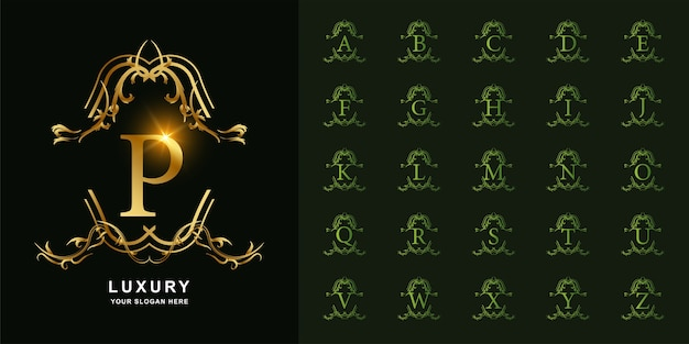 Letra p ou alfabeto inicial de coleção com modelo de logotipo dourado moldura floral ornamento de luxo.