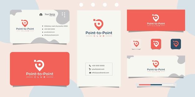 Letra p pinpoint design de logotipo e cartão de visita