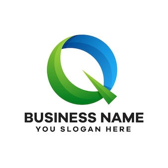 Letra q abstrata com logotipo gradiente de folhas