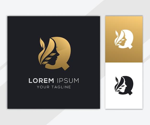 Letra q com modelo de logotipo de beleza feminina natural de luxo