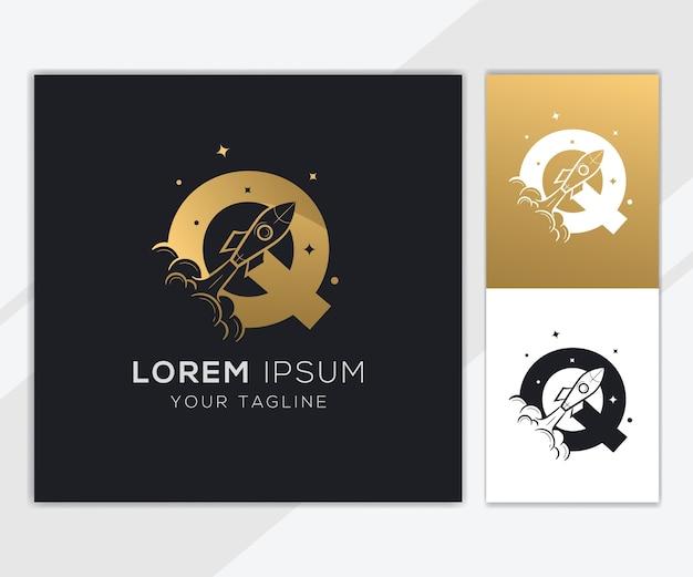 Letra q com modelo de logotipo de foguete abstrato de luxo