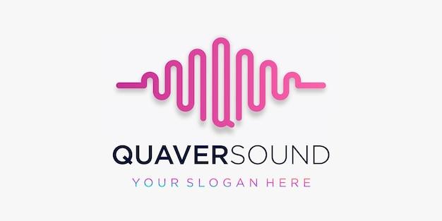 Letra q com pulso. elemento de onda sonora. modelo de logotipo