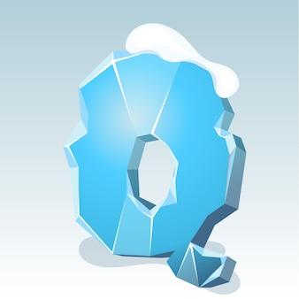 Letra q de gelo com neve no topo, fonte de vetor