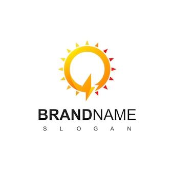 Letra q, logotipo da célula solar com parafuso e símbolo do sol