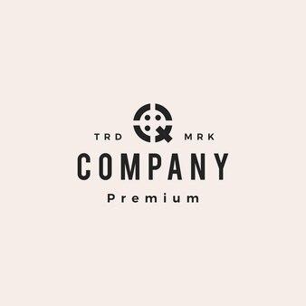 Letra q pessoas equipe família hipster logotipo vintage ícone ilustração em vetor