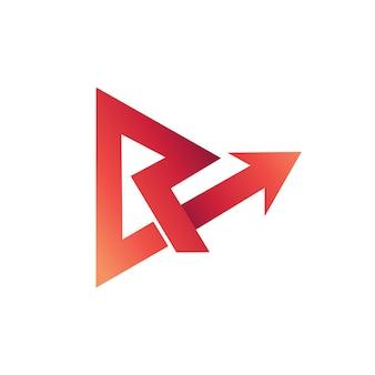 Letra r arrow logo vector