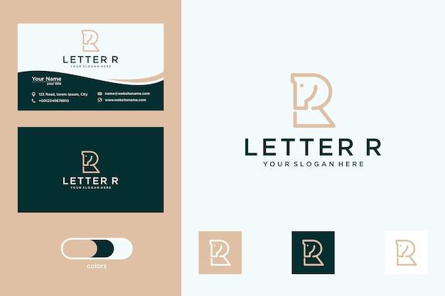 Letra r com design de logotipo de cavalo e cartão de visita