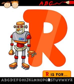 Letra r com ilustração robô de desenhos animados