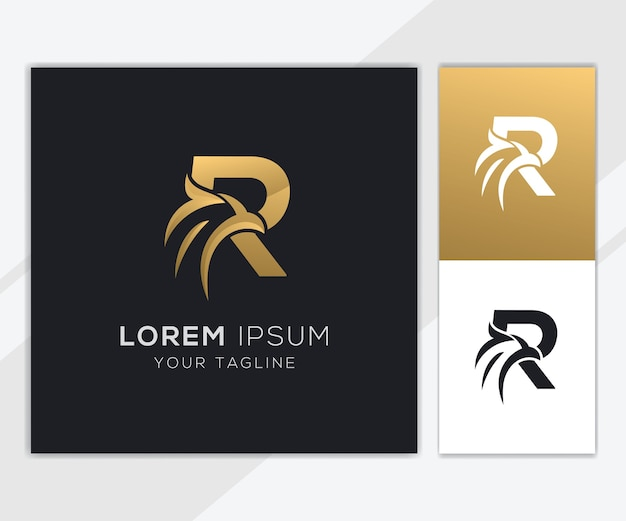 Letra r com modelo de logotipo de águia abstrato de luxo