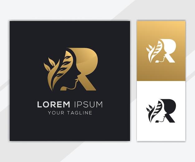 Letra r com modelo de logotipo de beleza feminina natural de luxo