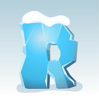 Letra r de gelo com neve no topo, fonte de vetor